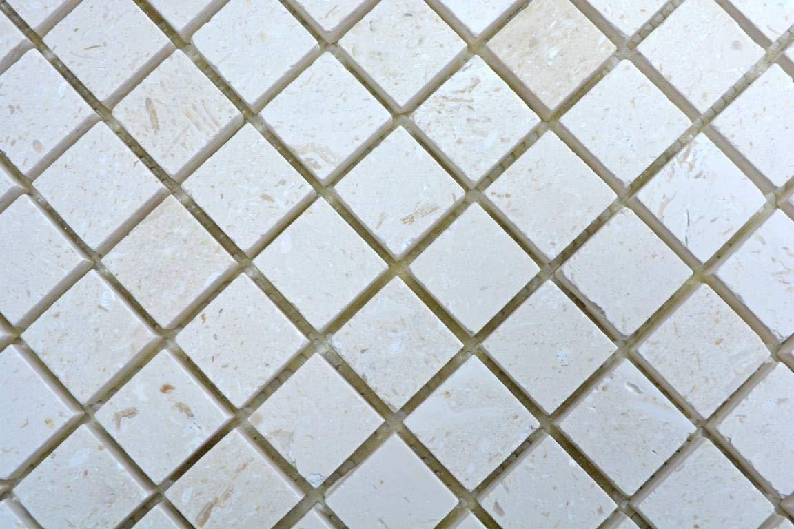 123Mosaic Tiles Mosaic Tiles Mosaic Kitchen Bathroom Toilet Living Area Tile Mirror Square Travertine Matt Floor 10 mm New #K572