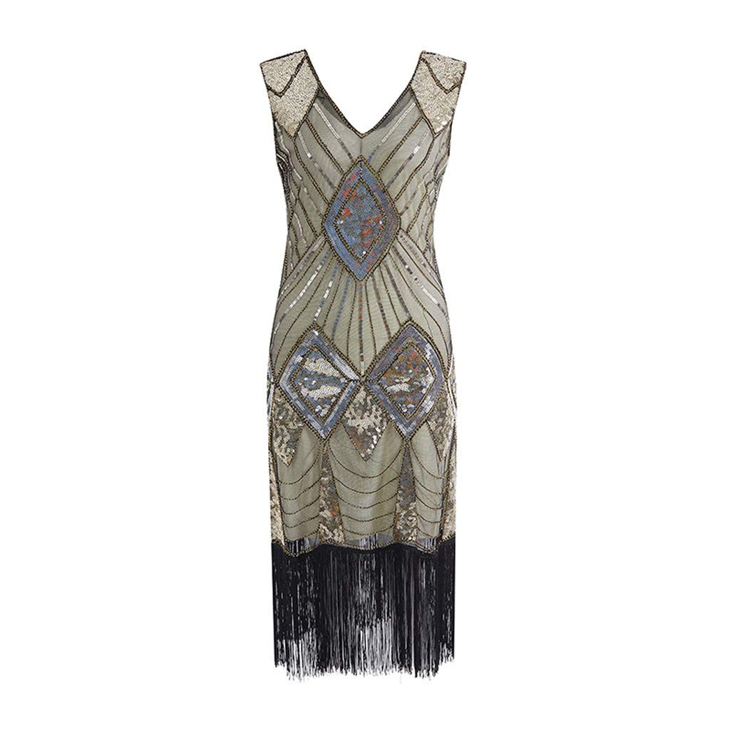 Masquerade Dresses for Women 1920s Vintage Flapper Fringe Beaded Great Gatsby Party Dress (Beige,S)