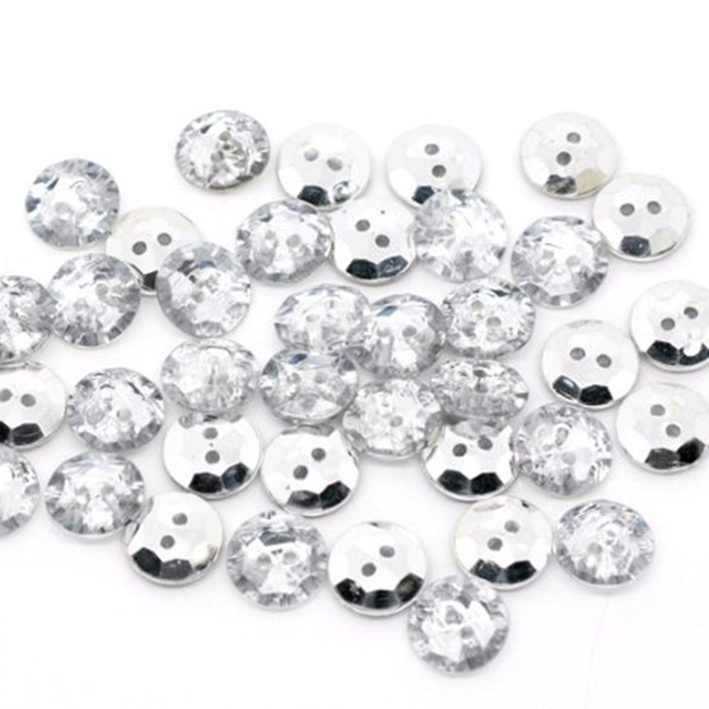 100 pcs white  buttons  4 holds  Embellishments size 9 mm