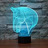 Horse Head 3D Night Light Touch Table Desk Lamps, Elstey 7 Color Changing Lights with Acrylic Flat & ABS Base & USB Charger