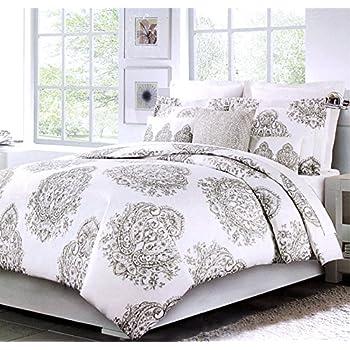 vintage medallion print duvet quilt cover damask paisley cotton bedding 3pc set elegant moroccan tapestry taupe