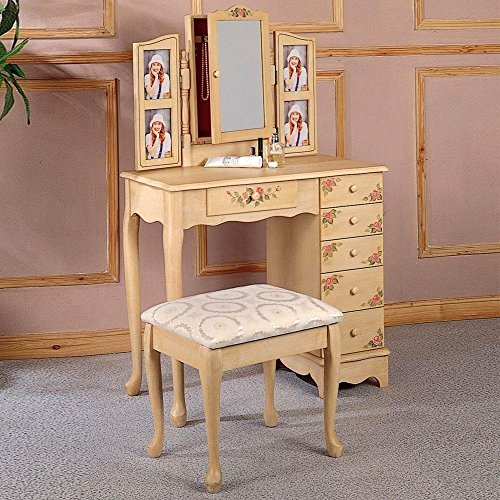 1PerfectChoice Ivory Hand Painted Floral Makeup Vanity Set Stool Drawers Hidden Jewelry Storage - Hand Painted Vanity Set