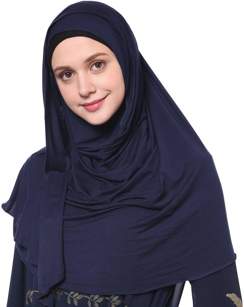 YI HENG MEI Women's Modest Muslim Islamic Soft Solid Cotton Jersey Inner Hijab Full Cover Headscarf,Navy Blue