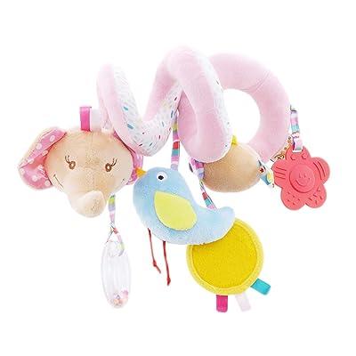 ZALING Baby Stroller Crib Ornament Cute Cartoon Elephant Aniamal Design Spiral Plush Toys Stroller Activity Toy, Pink Elephant: Toys & Games