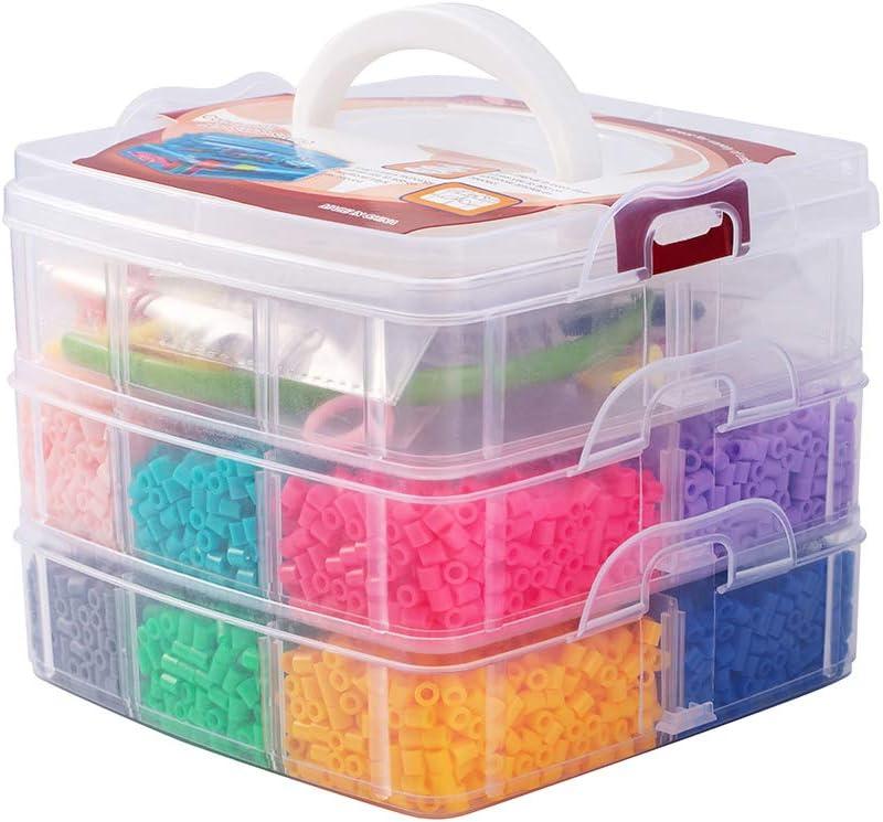 PandaHall Lote de 5000 Abalorios 12 Colores aleatorios Melty Beads Repuestos con Accesorios para niños incluidos Accesorios de Banda del Pelo Pinzas de Pelo de cocodrilo Anillo de plastico hama Beads: Amazon.es: