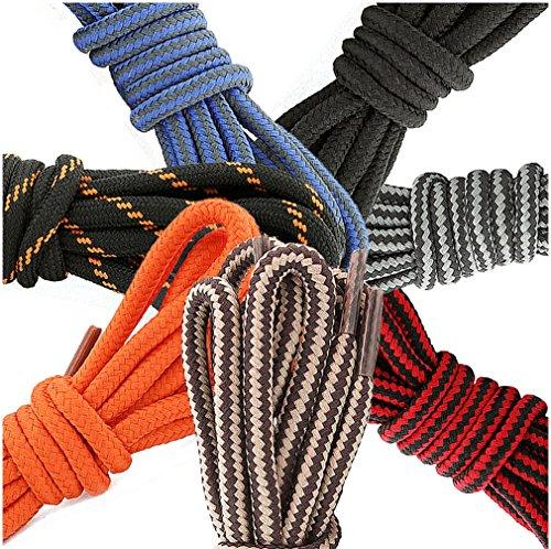DailyShoes Round Hiking Boot Shoelaces Strong Durable Stylish Shoe Laces Efflorescence Hazel , (Great for ) Black Dark Grey 54