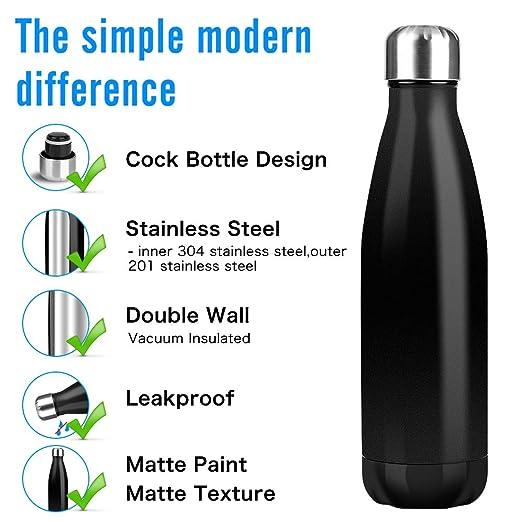 Domserv Botella de Agua Acero Inoxidable - 500 ML Diseño con Aislamiento al vacío de Doble Pared de - con Cepillo y Bolsa - para Correr, Gimnasio,Yoga ...