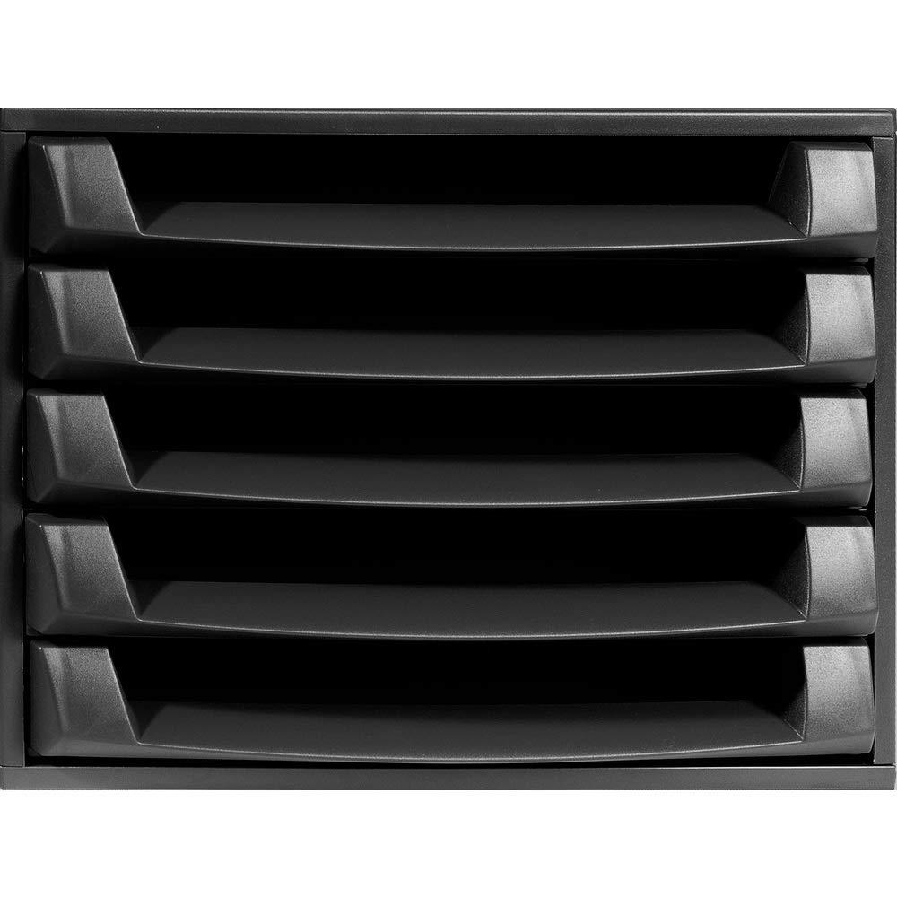 Exacompta 387 x 284 x 218 mm The Box EcoBlack, 5 Open Drawers, Black ExaClair Limited 221014D