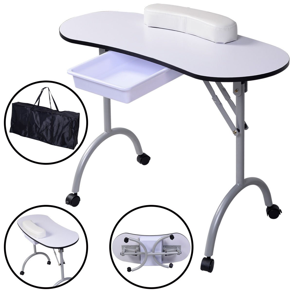 Portable Manicure Nail Table Station Desk Spa Beauty Salon Equipment White Super-comfy wrist cushions Durable plastic drawer for accessories by Marketworldcup
