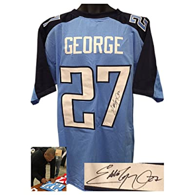low priced 1fabd 3da51 Eddie George Signed Autograph Light Blue Custom Stitched Pro ...