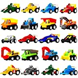 Pull Back Car, 20 Pcs Assorted Mini Truck Toy and Race Car Toy Kit Set, Funcorn Toys Play Construction Vehicle Pull Back Playset Educational Preschool for Kids Children Party Favors Birthday Classroom