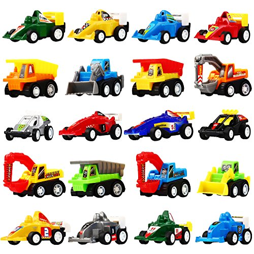 Pull Back Car, 20 Pcs Assorted Mini Truck Toy and Race Car Toy Kit Set, Funcorn Toys Play Construction Vehicle Playset Educational Preschool for Kids Children Party Favors Birthday Game (Truck Birthday Party Favors)