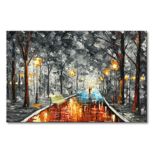 Night Rainy Wall Art Hand Painted Oil Painting on Canvas Abstract Forest Street Orange Picture Artwork Palette Knife Landscape Decoration Ready to Hang Framed 30x40 by Everlands Art