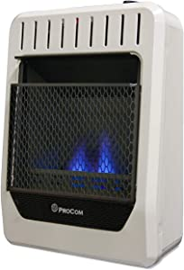 ProCom MG10TBF Ventless Dual Fuel Blue Flame Thermostat Control Wall Heater – 10,000 BTU, White