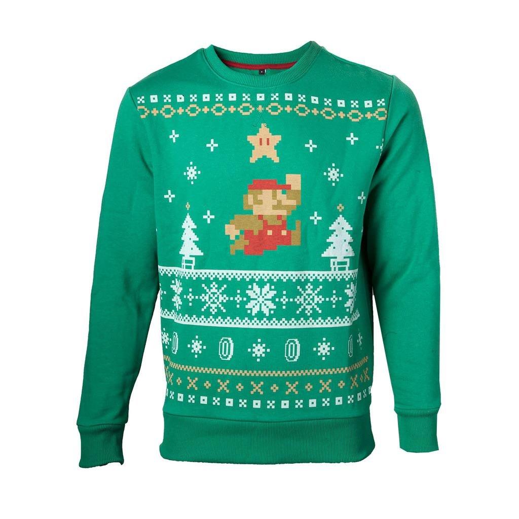 NINTENDO - JUMPING MARIO CHRISTMAS SWEATER LARGE: Amazon.co.uk: Clothing