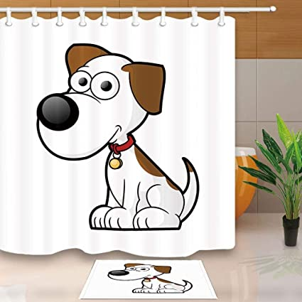 CdHBH Animal Shower Curtain By Childlike Dalmatian Cute Pet Spotty Dog White Background 71X71in Mildew Resistant