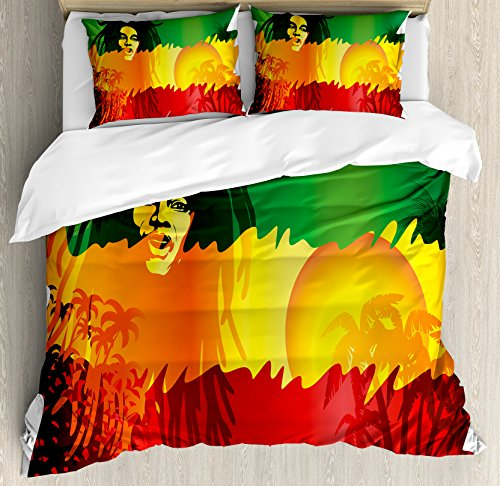 Abstract Set Tree (Ambesonne Rasta Duvet Cover Set King Size, Iconic Reggae Music Singer Abstract Design with Sun and Palm Trees, Decorative 3 Piece Bedding Set with 2 Pillow Shams, Green Yellow Red and Orange)
