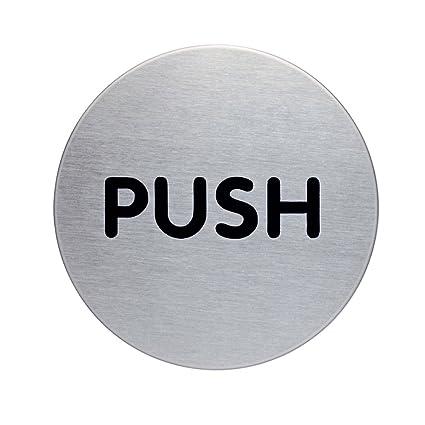 Durable Picto - Pictograma de puerta redondo Push, 65 mm, plateado