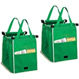 2Pack Reusable Shopping Trolley Bags Grab and Go Bag Collapsible Grocery Tote Bags with Handles, Clip on Shopping Cart As See
