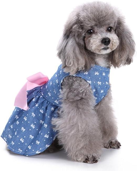 UEETEK Falda del Vestido del Perro, Camisas con Estilo del Chaleco del Perro del Bowknot Ropa del Verano del Animal doméstico para los Perros pequeños, tamaño M (Bowtie): Amazon.es: Hogar