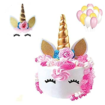 Unicorn Cake Toppers Handmade Set 27 PCS Gold Horn With Balloons Ears Flowers And Eyelash For