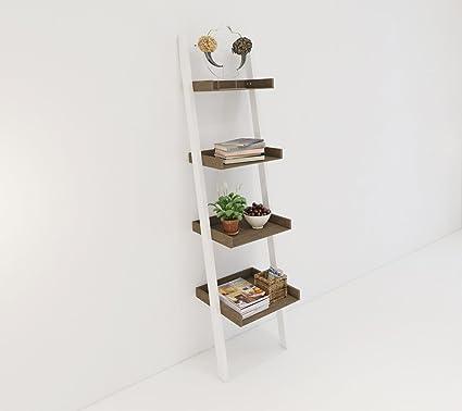 amazon com 4 tier bookcase white ladder shelf unit display shelves rh amazon com bookcase with 2 shelves bookcase with 2 shelves