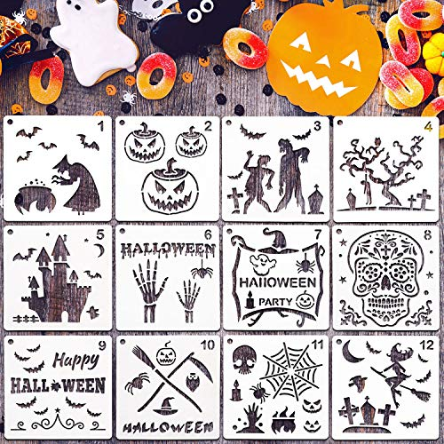 Chalkboard Drawings Halloween (Halloween Painting Stencils Set Decorative DIY Stencils Templates and Stainless Steel Clasp for Halloween Painting on Wood, Airbrush and Walls Art (26)