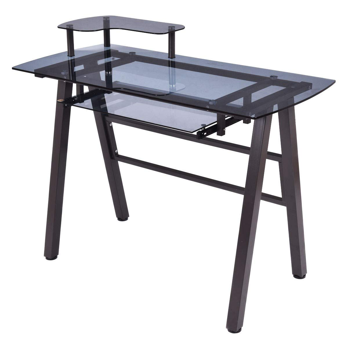 MD Group Glass Top Computer Desk with Printer Shelf