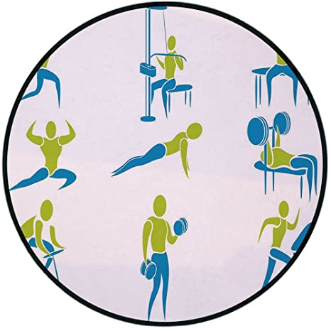 Pleasant Amazon Com Printing Round Rug Fitness Set Of Icon Showing Squirreltailoven Fun Painted Chair Ideas Images Squirreltailovenorg