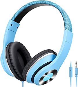 AUSDOM Over-Ear Headphones, Stereo Lightweight Adjustable Wired Headset with Mic, Noise Isolating Comfortable Leather Earphones, Hi-Fi Deep Bass for iPhone iPod iPad Macbook MP3 Cellphones Laptop-Blue