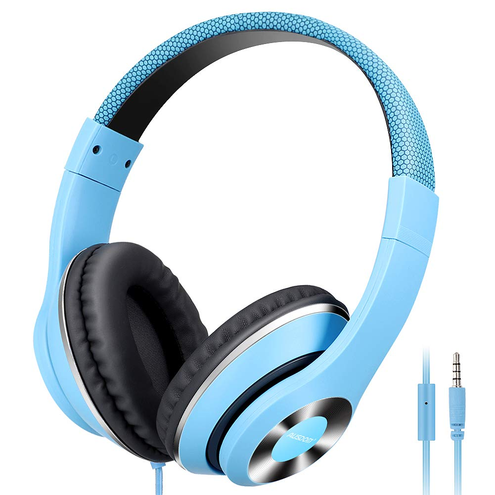 AUSDOM Over-Ear Headphones, Stereo Lightweight Adjustable Wired Headset with Mic, Noise Isolating Comfortable Leather Earphones, Hi-Fi Deep Bass for iPhone iPod iPad Macbook MP3 Cellphones Laptop-Blue by AUSDOM
