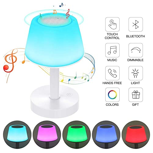 Night Light Bluetooth Speakers, Ranipobo Touch Control Table Lamp Portable Stereo Speaker, Dimmable Warm White Light 5 Colors Led Themes Bedside Lamp for Baby Nursery, Kids, Bedroom, Reading