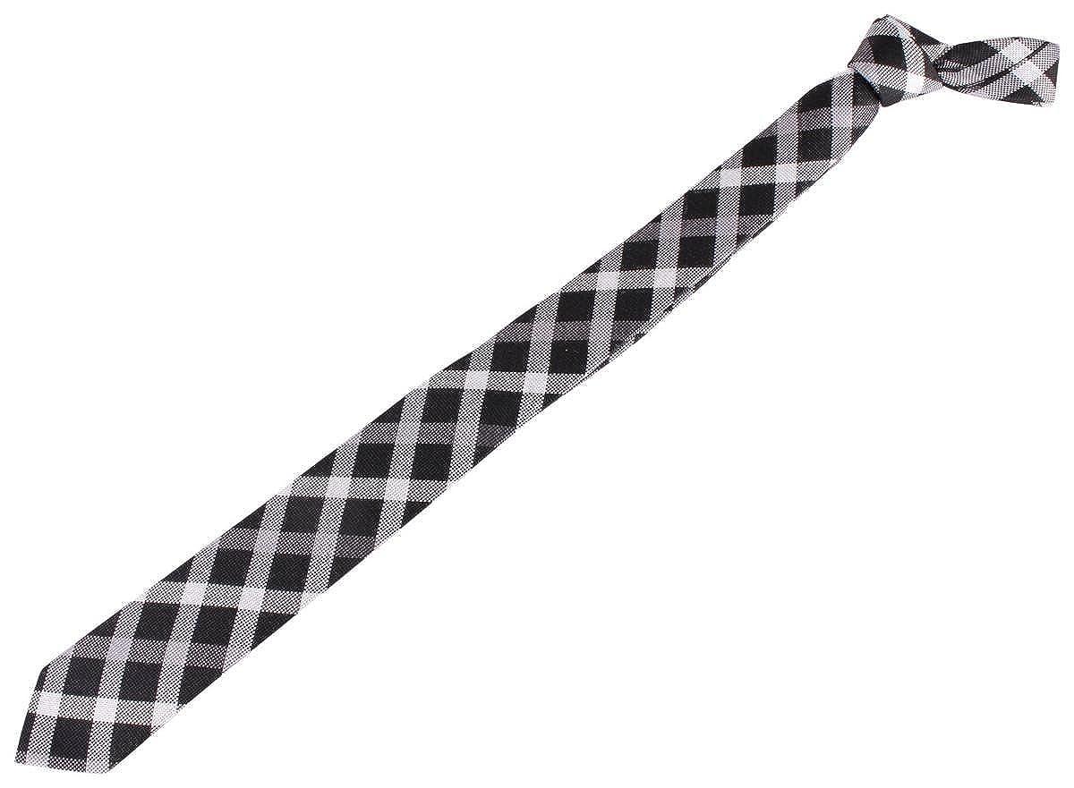 Knightsbridge Neckwear Mens Checked Silk Skinny Tie Black//Grey