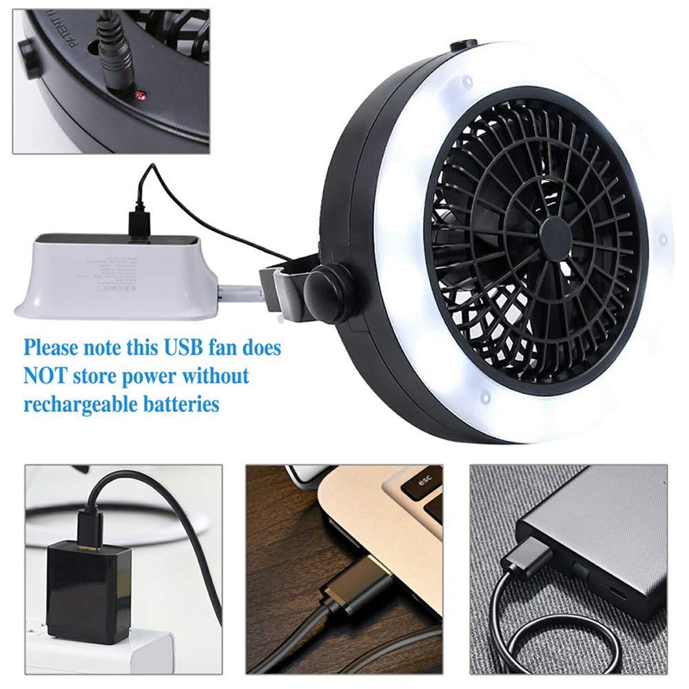Lixada Ventilador Port/átil de Camping Techo USB Recargable L/ámpara Ventilador Mini para Tienda de Campa/ña