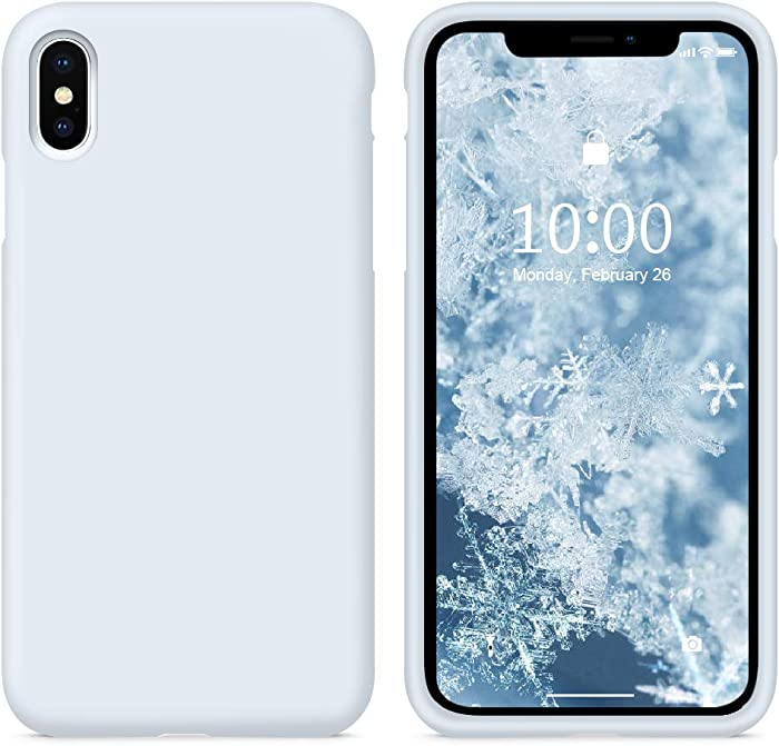 SURPHY Silicone Case Compatible with iPhone Xs Case iPhone X Case 5.8 inches, Liquid Silicone Phone Case (with Microfiber Lining) for iPhone Xs 2018 / iPhone X 2017 (Sky Blue)