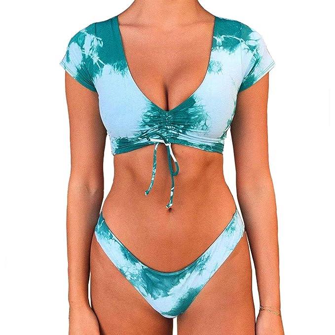 Amazon.com: RUUHEE Trajes de baño de manga corta para mujer ...