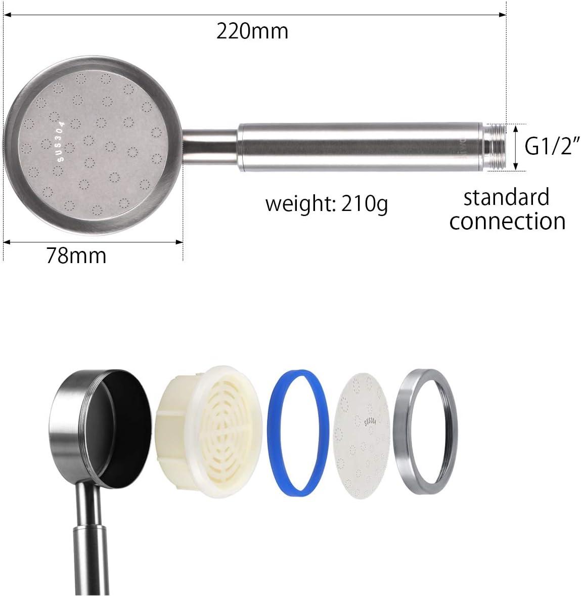 DIN-Schnittstelle G1 // 2,einfache Installation Bad Duschkopf AOKKR Duschkopf f/ür Schwimmbad Hochdruck Edelstahl 18//10 Handbrause,mit Wassersparfunktion