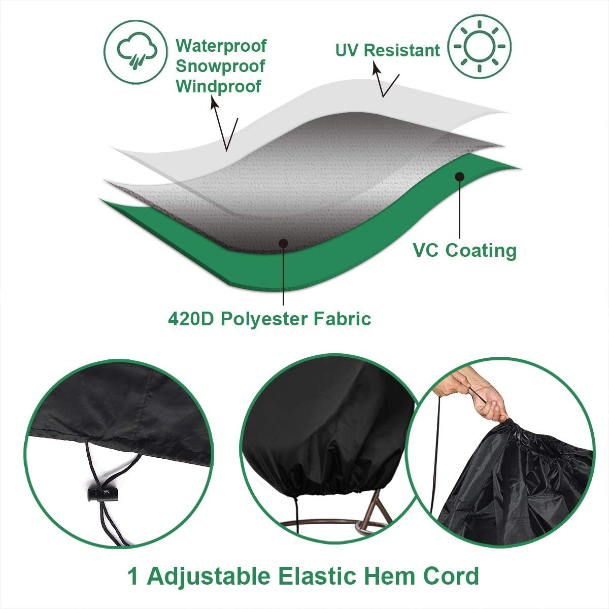 INMUA Patio Hanging Chair Cover Anti-UV Rattan Wicker Swing Chair Cover 190 x 115cm Waterproof Egg Chair Cover Rip Proof 420D Heavy Duty Oxford Fabric Windproof