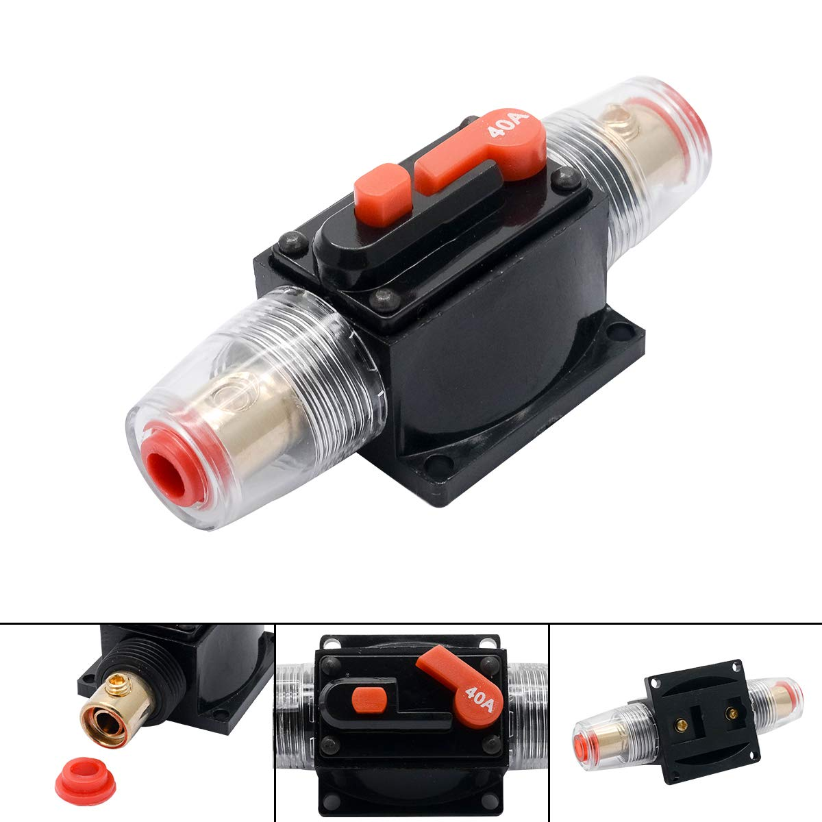 HugeAuto 12V-24V DC Car Audio Inline Circuit Breaker Fuse Block for Auto Motor Car Marine Boat Audio Solar Inverter System Protection 20 Amp Circuit Breaker with Manual Reset