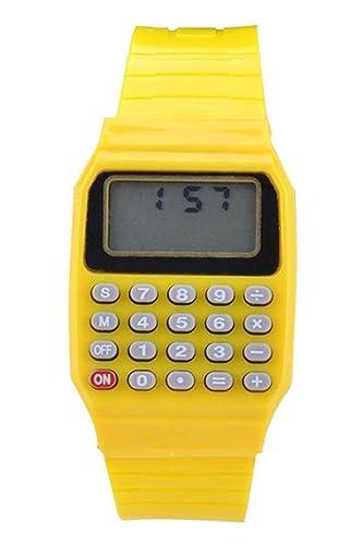 Reloj - SODIAL(R)Reloj electronico de silicona de multifuncion de calculadora para ninos y jovenes amarillo: Amazon.es: Relojes