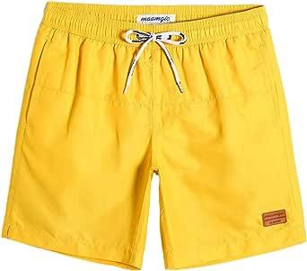 MaaMgic zwembroek voor heren Jongens zwembroek voor heren Sneldrogende surfstrandbroek Surfshort met pure voering, Geel geel, L