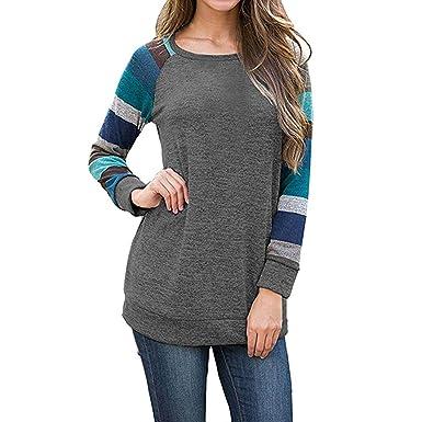 92e01654b878e Amazon.com  FEITONG Women s Long Sleeve Stripe Casual Tunic Sweatshirt Tops  Blouse  Clothing