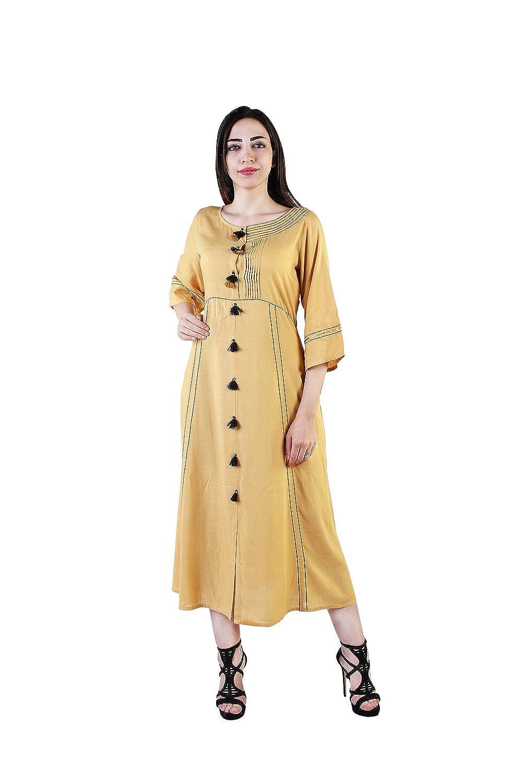 Vihaan Impex Indian Kurtis for Women Kurti Kurtas for Women Bust Size 40 Inches gold