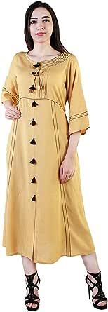 Vihaan Impex Stylish Women Rayon Kurti Three Fourth Sleeve_Gold