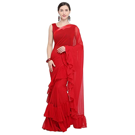 5ce7e14d5e55c4 Vinayak Textile Women s Red Georgette Solid Ruffle Saree With Free Size  Blouse Piece Material  Amazon.in  Clothing   Accessories