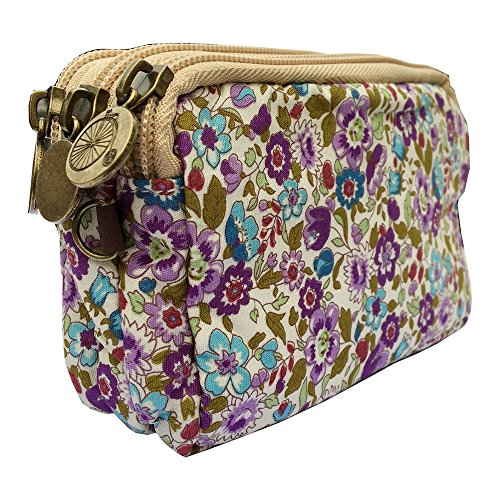 HLBiuty Girls Women's Canvas Vintage Floral Zip Mini Wallet 3 Layers Coin Purse (white & purple) from Homelink