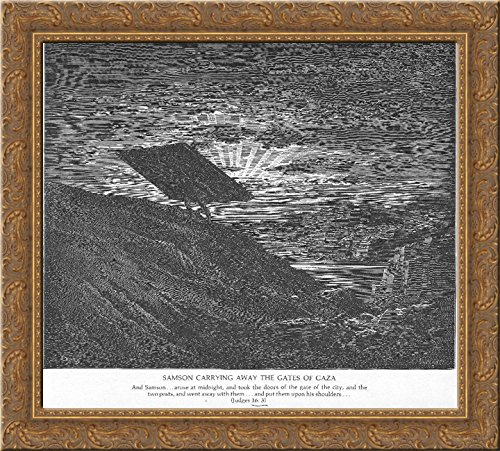 Samson Carries away the Gates of Gaza 24x20 Gold Ornate Wood Framed Canvas Art by Gustave Dore