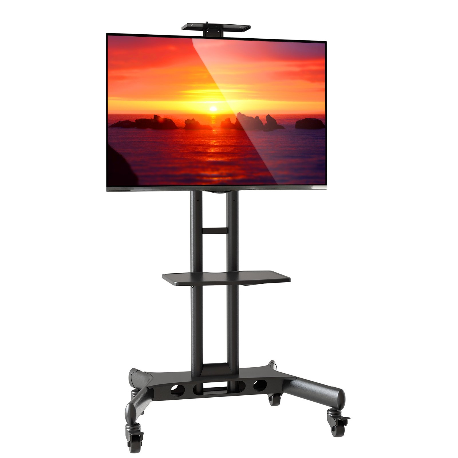 Mount Factory Rolling TV Cart Mobile TV Stand for 40-65 inch Flat Screen, LED, LCD, OLED, Plasma, Curved TV's - Universal Mount with Wheels by Mount Factory