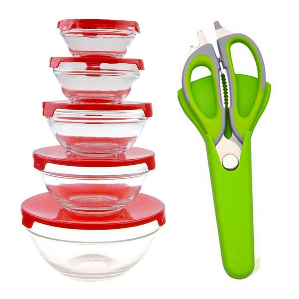 PU Health Pure acoustics 5-piece glass food storage bowl set with free poultry scissors- red, RED, 430.91239999999999 Gram