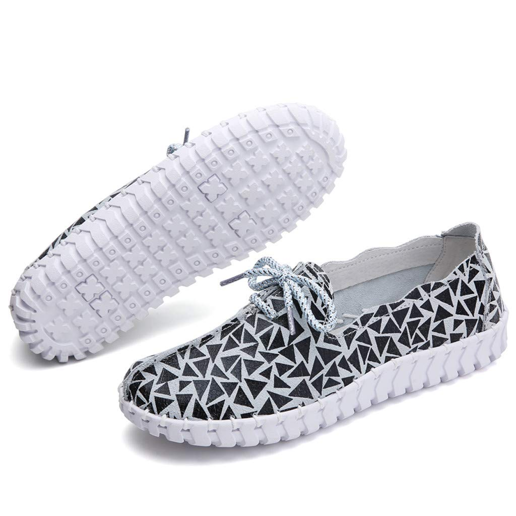 Kauneus♕ Casual Sport Shoes for Women Creative Stitching Round Toe Print Lace up Loafers Comfy Walking Outdoor Sneakers